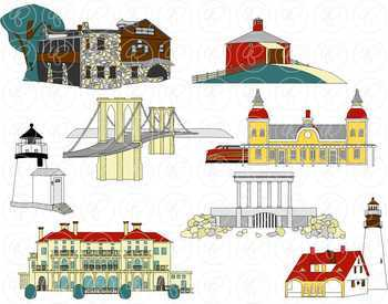 U.S. State Landmarks Northeast Region Clipart by Poppydreamz