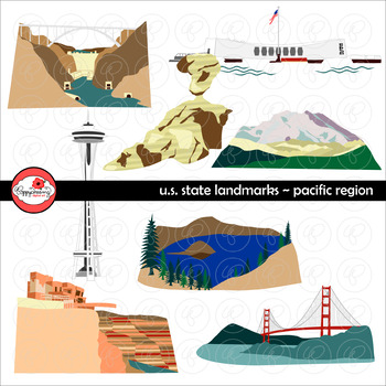 U.S. State Landmarks Pacific Region Clipart by Poppydreamz