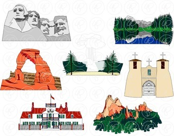 U.S. State Landmarks Rocky Mountains Region Clipart by Poppydreamz