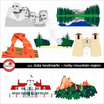 U.S. State Landmarks Rocky Mountains Region Clipart by Pop