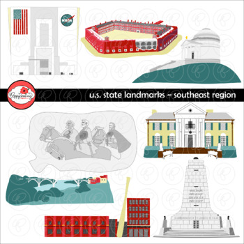 U.S. State Landmarks Southeast Region Clipart by Poppydreamz