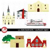U.S. State Landmarks Southwest Region Clipart by Poppydreamz
