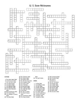 U.S. State Nicknames Crossword
