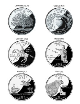 U.S. State Quarters - Great for President's Day, Lincoln & Washington's Birthday