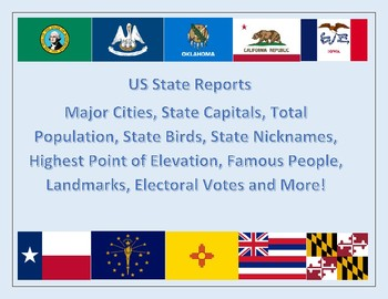 US State Reports with Maps, Data Analysis Cities, Capitals, Population and More