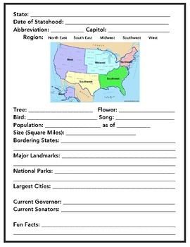 US State Study Worksheet