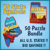 US STATE SYMBOLS BUNDLE - 50 USA Word Search Puzzle Worksheet Activities