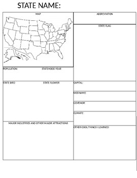 US State Worksheet/Project