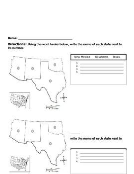 U.S. States 5 Regions Exit Slips