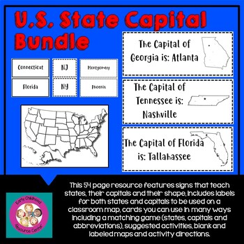 US States, Capitals and Abbreviations Activity Pack