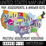 US States & Capitals Map Assessments Bundle
