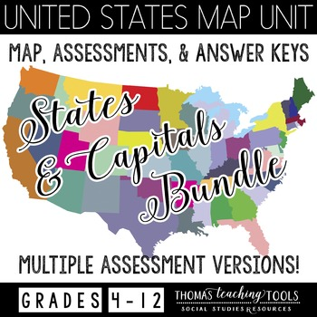 US States & Capitals Map Assessments Bundle
