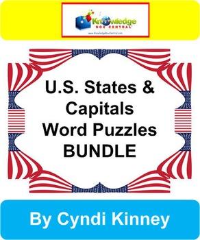 U.S. States & Capitals Word Puzzles Bundle