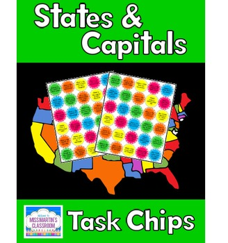US States, Capitals, and Map Skills Chips