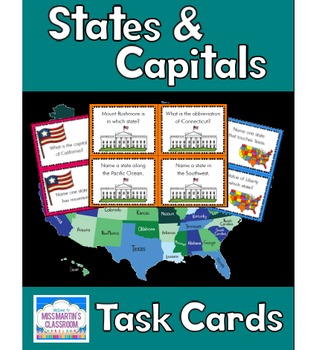 States, Capitals, and Map Skills Task Cards