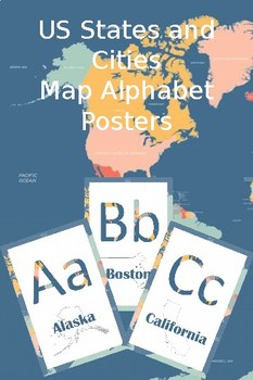 US States & Cities Map Alphabet Posters