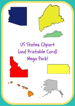 US States Clipart and Printable Cards Mega Pack - All States in 8 Variations!