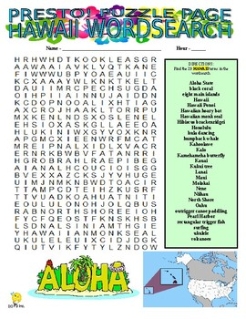 US States : Hawaii Puzzle Page (Wordsearch and Criss-Cross)