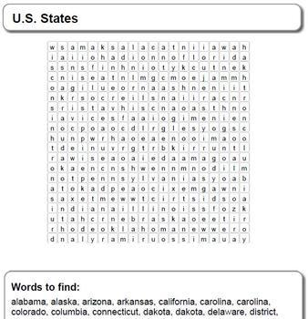U.S. States - Word Search
