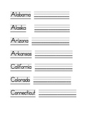 US States and Capital Writing Sheets