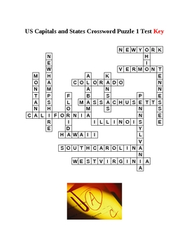 US States and Capitals Crossword Puzzles Unit