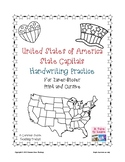 US States and Capitals Handwriting Practice for Print or Cursive