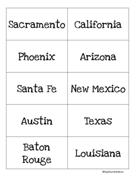 US States and Capitals Flashcards