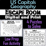 US States and Capitals Game: Geography Escape Room Social Studies