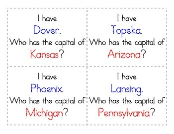 5 Regions: I Have, Who Has (States & Capitals)
