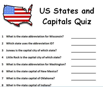 US States and Capitals Quiz - Randomly Generated Questions