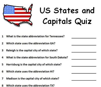 7899dedefa29c5 US States and Capitals Quiz - Randomly Generated Questions by Gecko