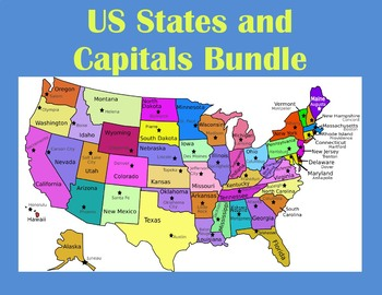 US States and Capitals Webquest Bundle using Google Maps
