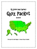 US States and Capitals by Region Quiz Packet