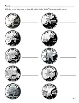U.S. States and their Quarters (Quiz/Test) - Great for President's Day