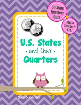 U.S. States and their Quarters (Quiz/Test) - Great for Pre