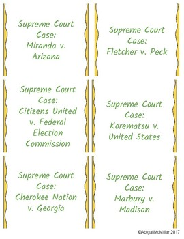 US Supreme Court Cases Vocabulary Speed Dating