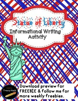 U.S. Symbol Statue of Liberty Informational Writing-Freebie included in Preview