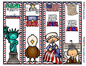 US Symbol Themed Bookmarks