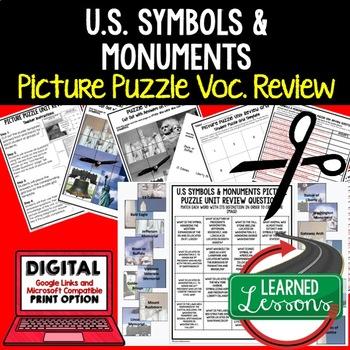 US Symbols & Monuments Picture Puzzle Unit Review, Study Guide, Test Prep