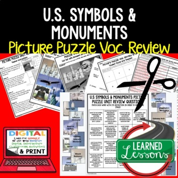 US Symbols & Monuments Picture Puzzle Unit Review, Study G