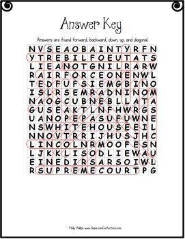 US Symbols, Monuments, and Memorials Word Search: American Symbols