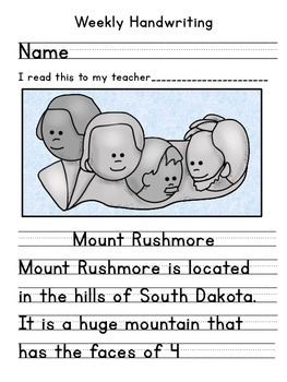 US Symbols, Mount Rushmore Handwriting