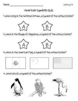 US Symbols Quiz for Kindergarten