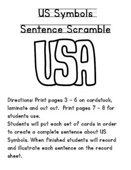 US Symbols Sentence Scramble-A