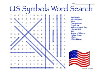 US Symbols Word Search Freebie!