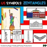US Symbols Zentangle Art,  No Prep Coloring Pages