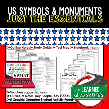 US Symbols and Facts Outline Notes, US Symbols Bullet Notes