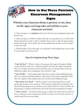 US Theme Classroom Behavior Management Signs