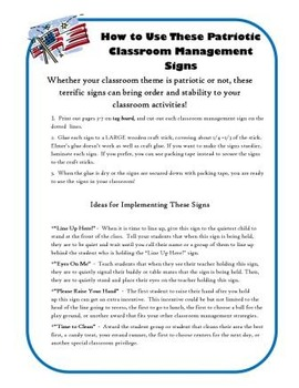 US Theme Classroom Behavior Management Signs