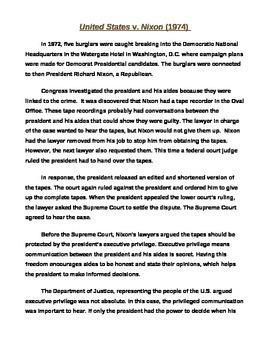 US V. Nixon Worksheet Handout